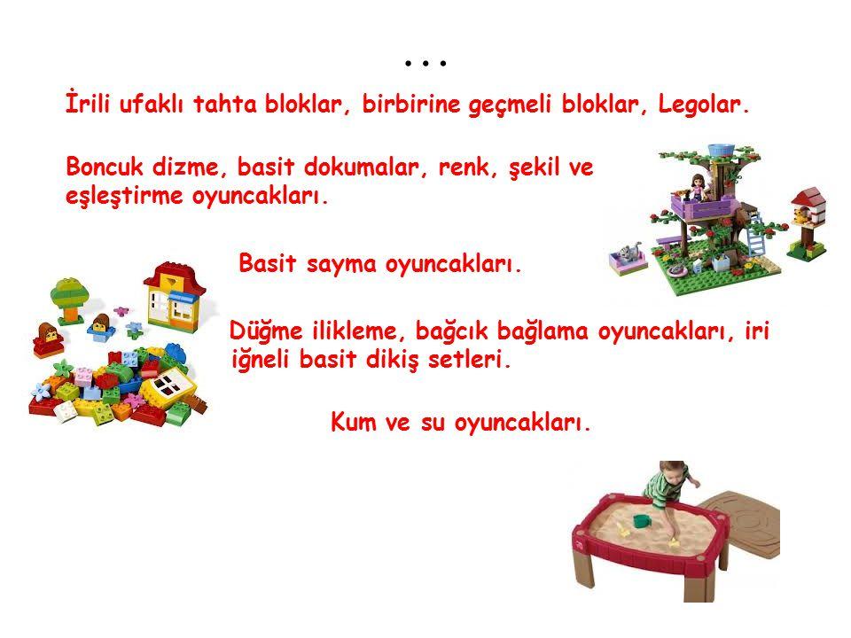 … İrili ufaklı tahta bloklar, birbirine geçmeli bloklar, Legolar. Boncuk dizme, basit dokumalar, renk, şekil ve resme göre eşleştirme oyuncakları. Bas