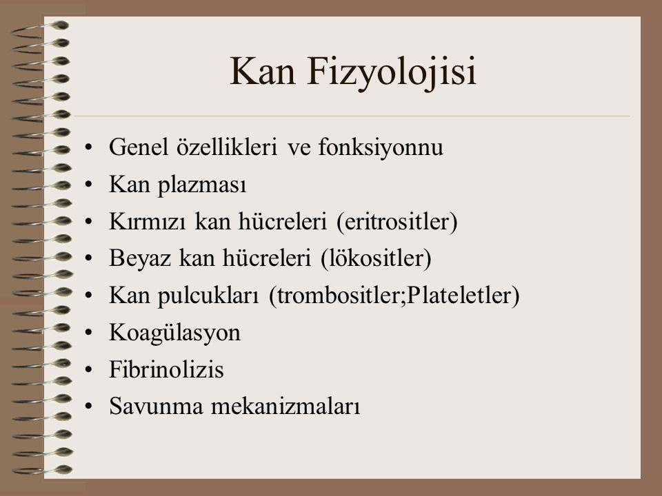 Kan Fizyolojisi Genel özellikleri ve fonksiyonnu Kan plazması Kırmızı kan hücreleri (eritrositler) Beyaz kan hücreleri (lökositler) Kan pulcukları (trombositler;Plateletler) Koagülasyon Fibrinolizis Savunma mekanizmaları
