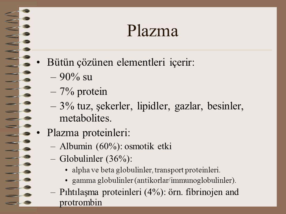 Plazma Bütün çözünen elementleri içerir: –90% su –7% protein –3% tuz, şekerler, lipidler, gazlar, besinler, metabolites.