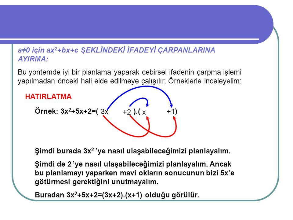 a≠0 için ax 2 +bx+c ŞEKLİNDEKİ İFADEYİ ÇARPANLARINA AYIRMA: Bu yöntemde iyi bir planlama yaparak cebirsel ifadenin çarpma işlemi yapılmadan önceki hal