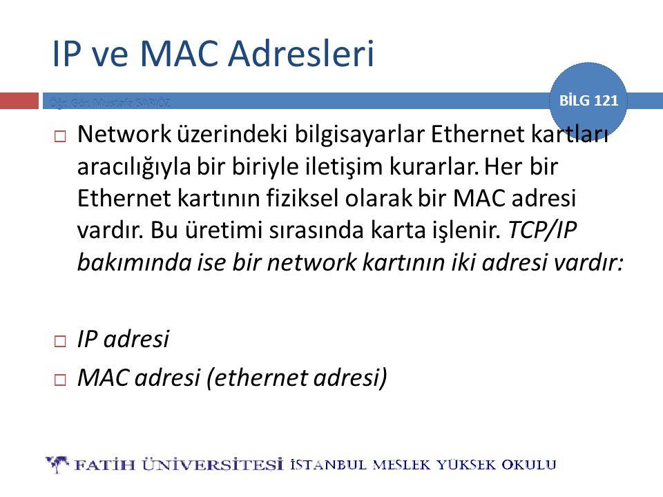 BİLG 121 IP ve MAC Adresleri  Network üzerindeki bilgisayarlar Ethernet kartları aracılığıyla bir biriyle iletişim kurarlar. Her bir Ethernet kartını