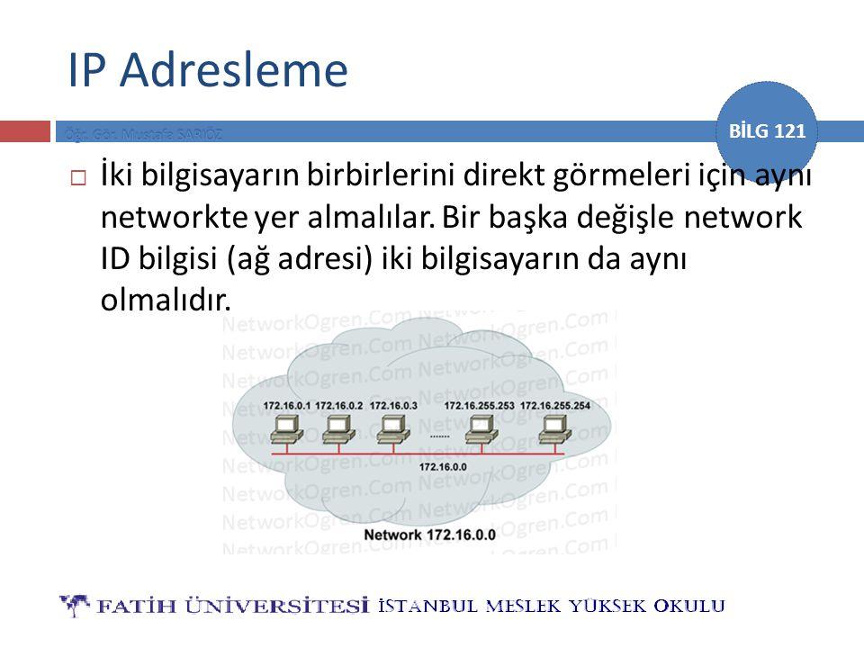 BİLG 121 IP Adresleme  İki bilgisayarın birbirlerini direkt görmeleri için aynı networkte yer almalılar. Bir başka değişle network ID bilgisi (ağ adr