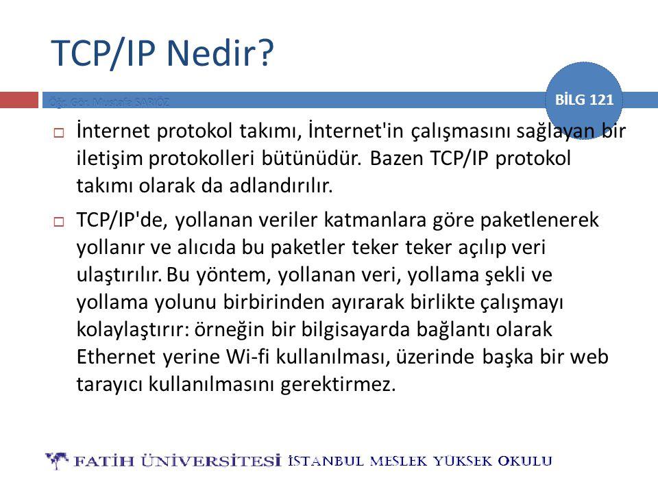 BİLG 121 TCP/IP Nedir?  İnternet protokol takımı, İnternet'in çalışmasını sağlayan bir iletişim protokolleri bütünüdür. Bazen TCP/IP protokol takımı