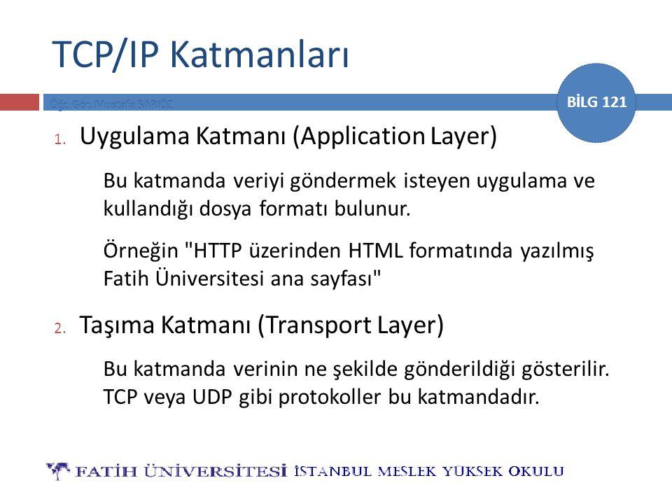 BİLG 121 TCP/IP Katmanları 1. Uygulama Katmanı (Application Layer) Bu katmanda veriyi göndermek isteyen uygulama ve kullandığı dosya formatı bulunur.