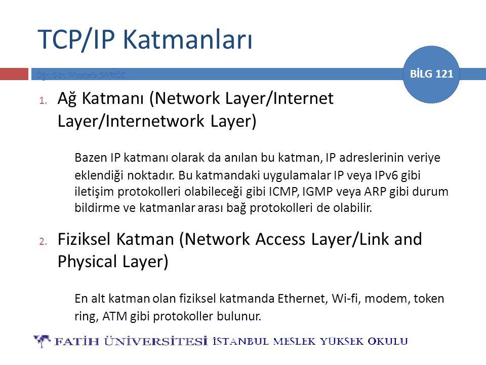 BİLG 121 TCP/IP Katmanları 1. Ağ Katmanı (Network Layer/Internet Layer/Internetwork Layer) Bazen IP katmanı olarak da anılan bu katman, IP adreslerini