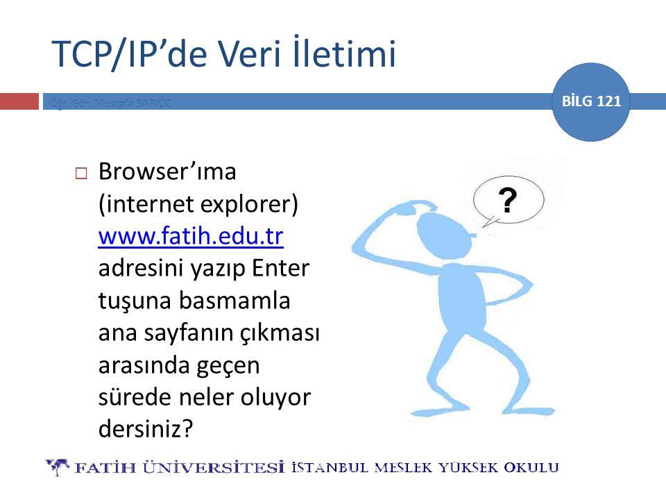 BİLG 121 TCP/IP'de Veri İletimi  Browser'ıma (internet explorer) www.fatih.edu.tr adresini yazıp Enter tuşuna basmamla ana sayfanın çıkması arasında