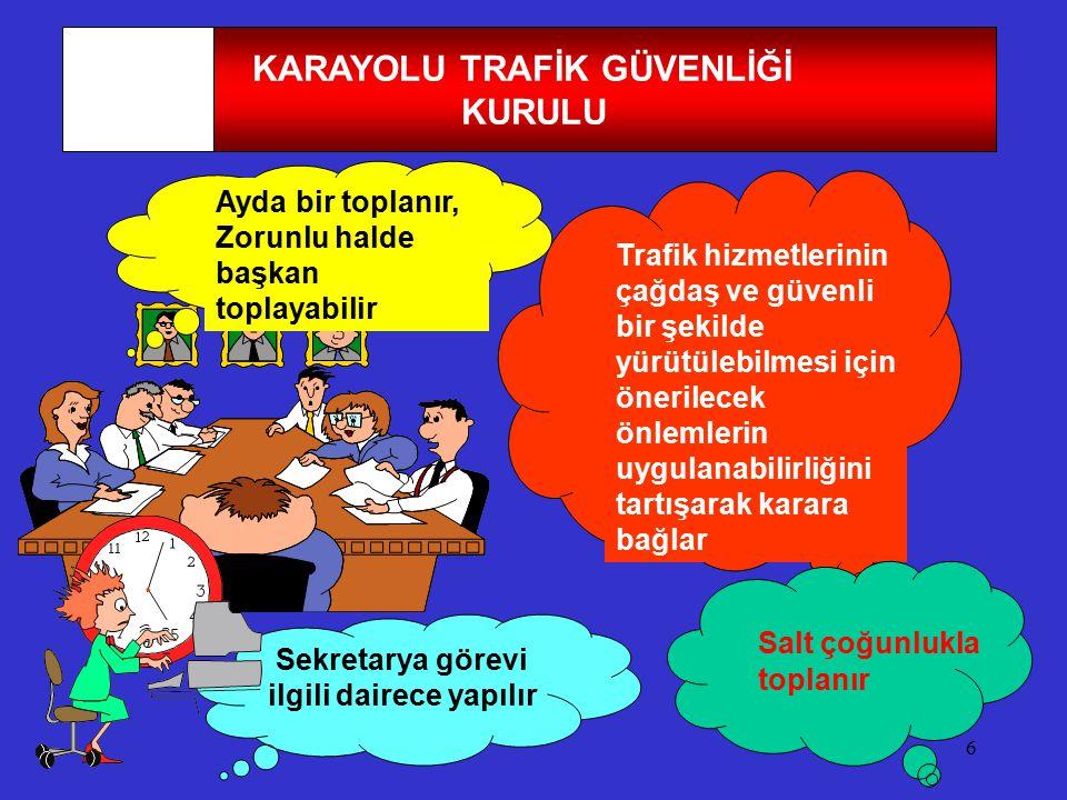 6 KARAYOLU TRAFİK GÜVENLİĞİ KURULU Trafik hizmetlerinin çağdaş ve güvenli bir şekilde yürütülebilmesi için önerilecek önlemlerin uygulanabilirliğini t