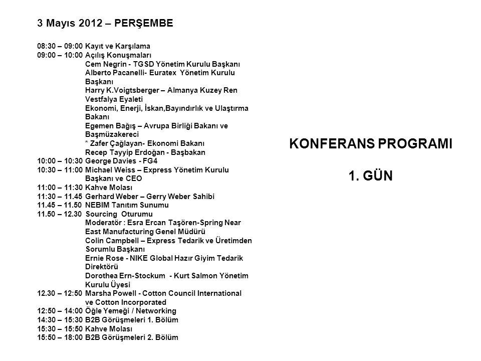 3 Mayıs 2012 – PERŞEMBE 08:30 – 09:00 Kayıt ve Karşılama 09:00 – 10:00 Açılış Konuşmaları Cem Negrin - TGSD Yönetim Kurulu Başkanı Alberto Pacanelli-