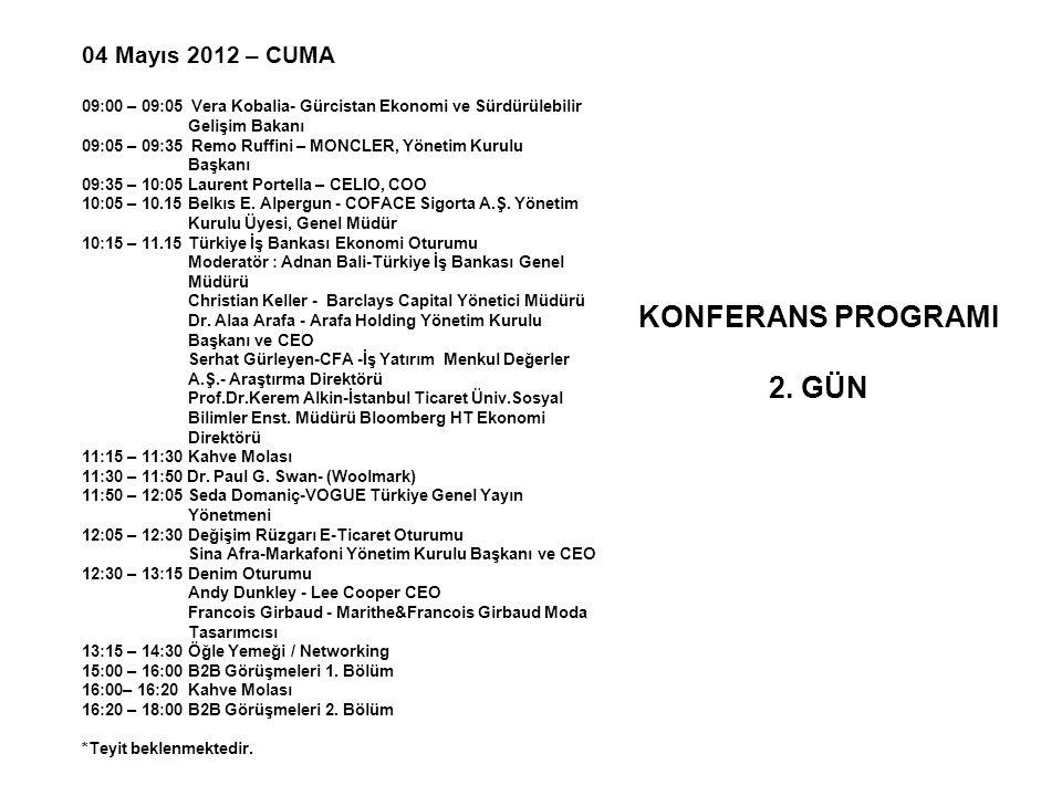 04 Mayıs 2012 – CUMA 09:00 – 09:05 Vera Kobalia- Gürcistan Ekonomi ve Sürdürülebilir Gelişim Bakanı 09:05 – 09:35 Remo Ruffini – MONCLER, Yönetim Kuru