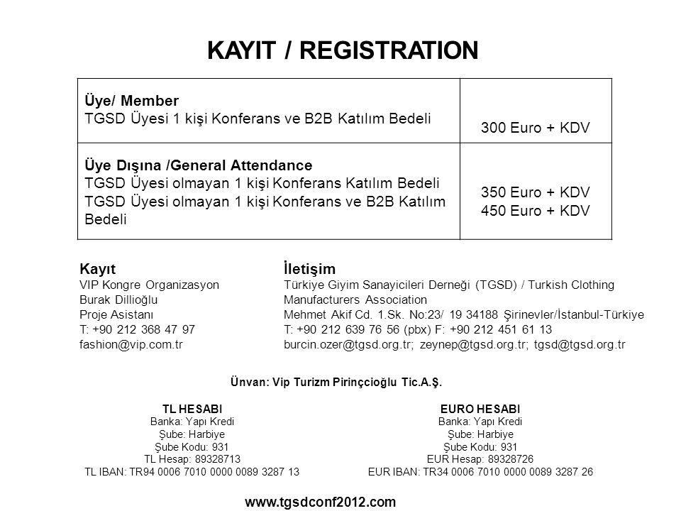 KAYIT / REGISTRATION Kayıt İletişim VIP Kongre OrganizasyonTürkiye Giyim Sanayicileri Derneği (TGSD) / Turkish Clothing Burak Dillioğlu Manufacturers