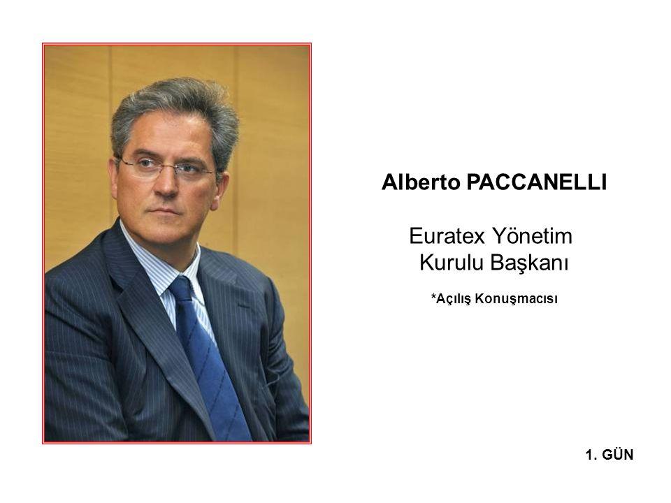 Alberto PACCANELLI Euratex Yönetim Kurulu Başkanı *Açılış Konuşmacısı 1. GÜN