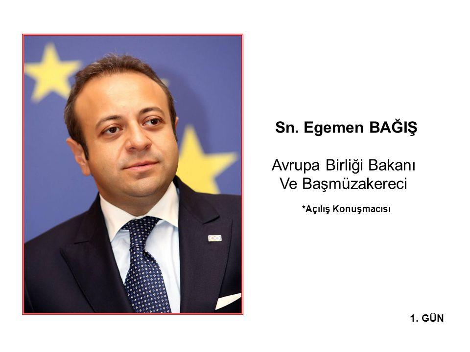 Sn. Egemen BAĞIŞ Avrupa Birliği Bakanı Ve Başmüzakereci *Açılış Konuşmacısı