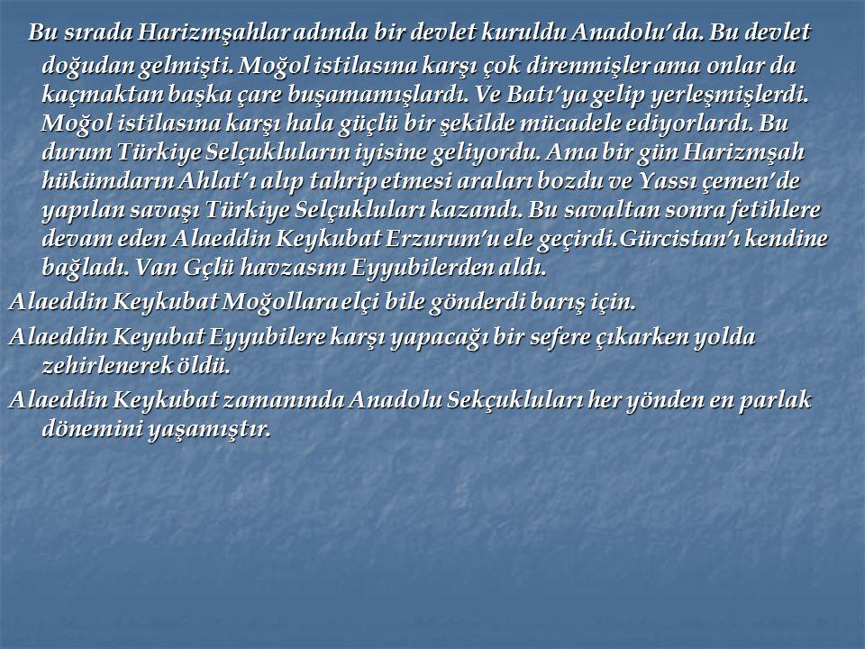 I. İzzeddin Keykavus I. İzzeddin Keykavus I. Gıyaseddin Keyhüsrev'İn ölümü üzerine I. İzzeddin Keykavus Konya'ya gelerek tahta geçti. Sinop'u fethetti