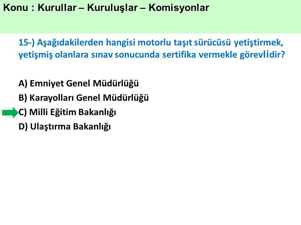 15-) Aşağıdakilerden hangisi motorlu taşıt sürücüsü yetiştirmek, yetişmiş olanlara sınav sonucunda sertifika vermekle görev li dir.