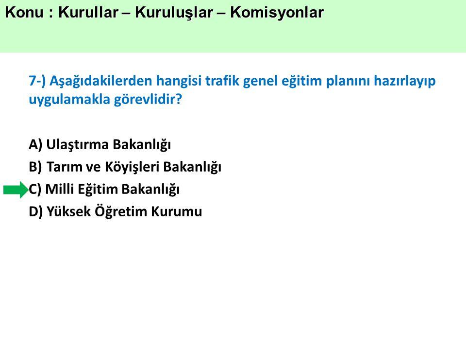 7-) Aşağıdakilerden hangisi trafik genel eğitim planını hazırlayıp uygulamakla görevlidir.
