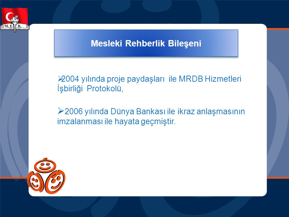 Mesleki Rehberlik Bileşeni  2004 yılında proje paydaşları ile MRDB Hizmetleri İşbirliği Protokolü,  2006 yılında Dünya Bankası ile ikraz anlaşmasını