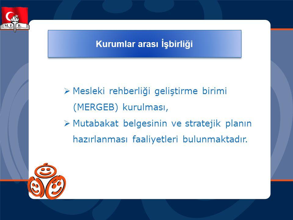  Mesleki rehberliği geliştirme birimi (MERGEB) kurulması,  Mutabakat belgesinin ve stratejik planın hazırlanması faaliyetleri bulunmaktadır.