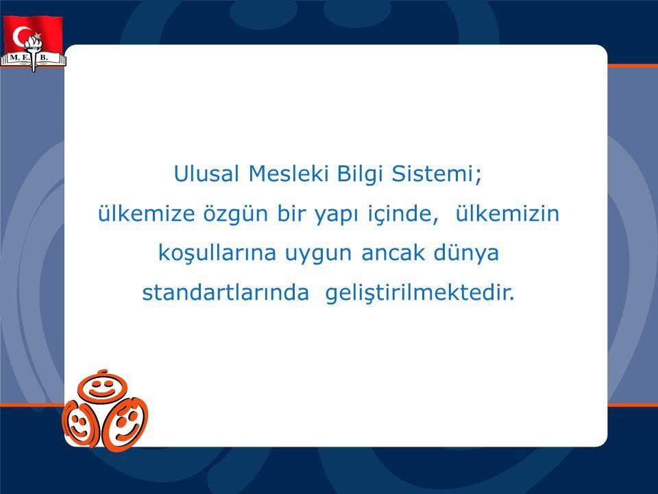 Ulusal Mesleki Bilgi Sistemi; ülkemize özgün bir yapı içinde, ülkemizin koşullarına uygun ancak dünya standartlarında geliştirilmektedir.