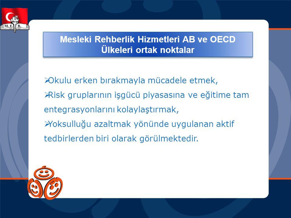 Mesleki Rehberlik alanında tüm Avrupa Birliği ve OECD Ülkelerinde ortak noktalar:  Okulu erken bırakmayla mücadele etmek,  Risk gruplarının işgücü p