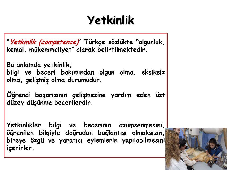 """Yetkinlik """"Yetkinlik (competence)"""" Türkçe sözlükte """"olgunluk, kemal, mükemmeliyet"""" olarak belirtilmektedir. Bu anlamda yetkinlik; bilgi ve beceri bakı"""