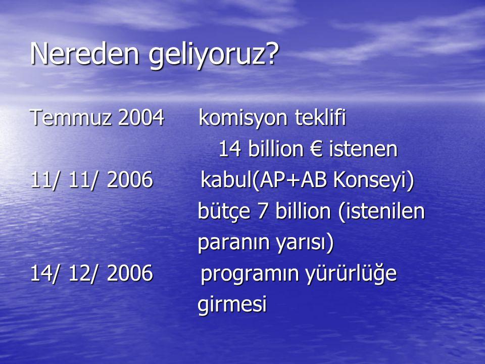 Nereden geliyoruz? Temmuz 2004 komisyon teklifi 14 billion € istenen 14 billion € istenen 11/ 11/ 2006 kabul(AP+AB Konseyi) bütçe 7 billion (istenilen