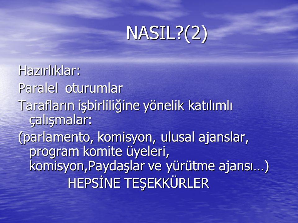 NASIL?(2) NASIL?(2) Hazırlıklar: Paralel oturumlar Tarafların işbirliliğine yönelik katılımlı çalışmalar: (parlamento, komisyon, ulusal ajanslar, prog