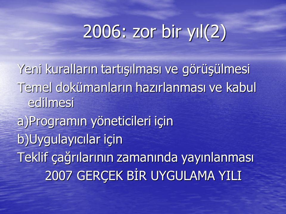 2006: zor bir yıl(2) 2006: zor bir yıl(2) Yeni kuralların tartışılması ve görüşülmesi Temel dokümanların hazırlanması ve kabul edilmesi a)Programın yö