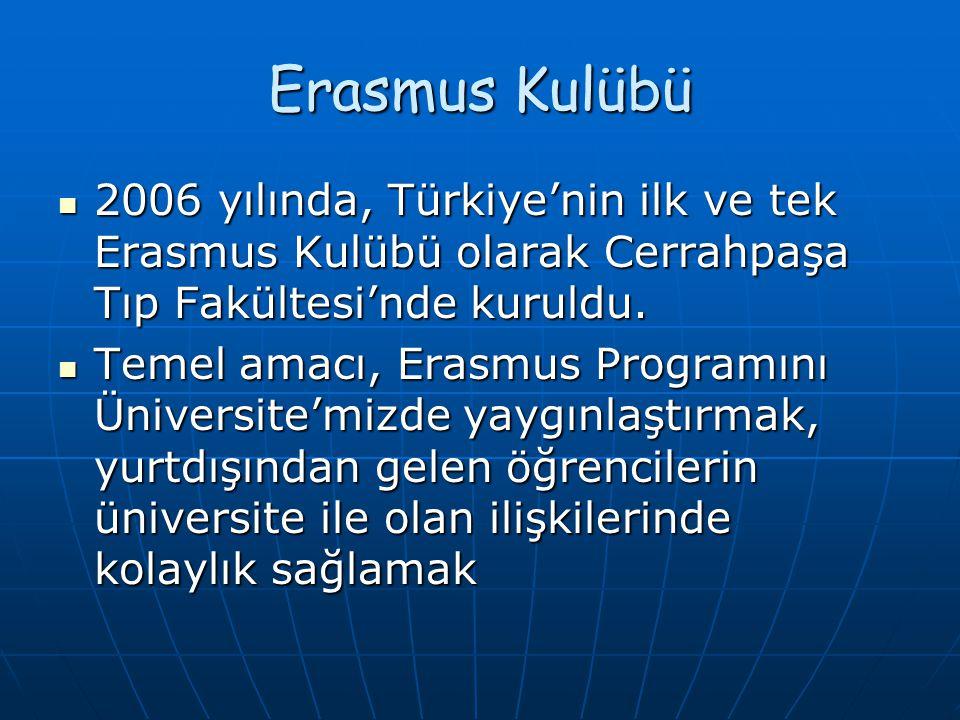 Erasmus Kulübü 2006 yılında, Türkiye'nin ilk ve tek Erasmus Kulübü olarak Cerrahpaşa Tıp Fakültesi'nde kuruldu. 2006 yılında, Türkiye'nin ilk ve tek E