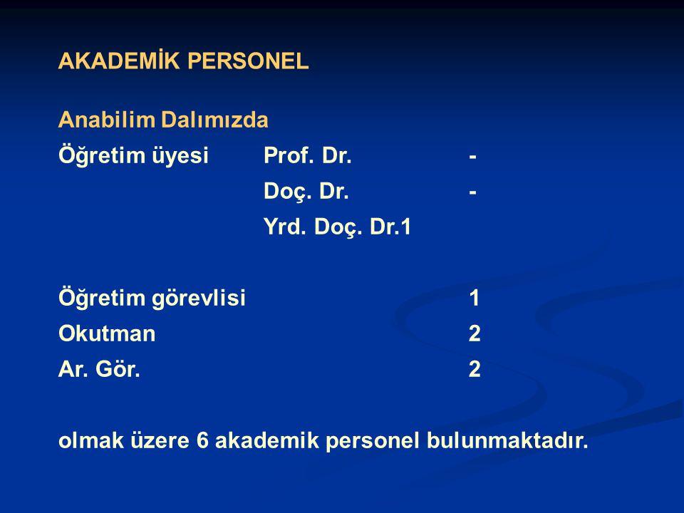 AKADEMİK PERSONEL Anabilim Dalımızda Öğretim üyesi Prof.