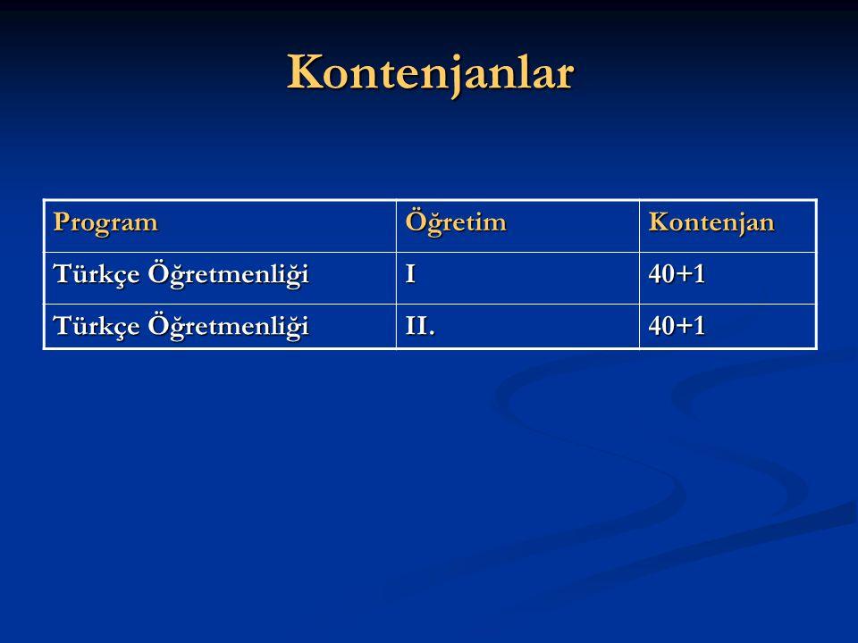 Kontenjanlar ProgramÖğretimKontenjan Türkçe Öğretmenliği I40+1 II.40+1