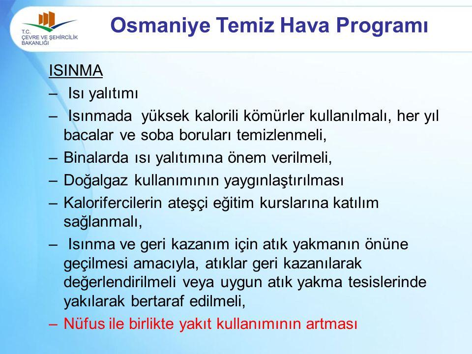 Osmaniye Temiz Hava Programı ISINMA – Isı yalıtımı – Isınmada yüksek kalorili kömürler kullanılmalı, her yıl bacalar ve soba boruları temizlenmeli, –B