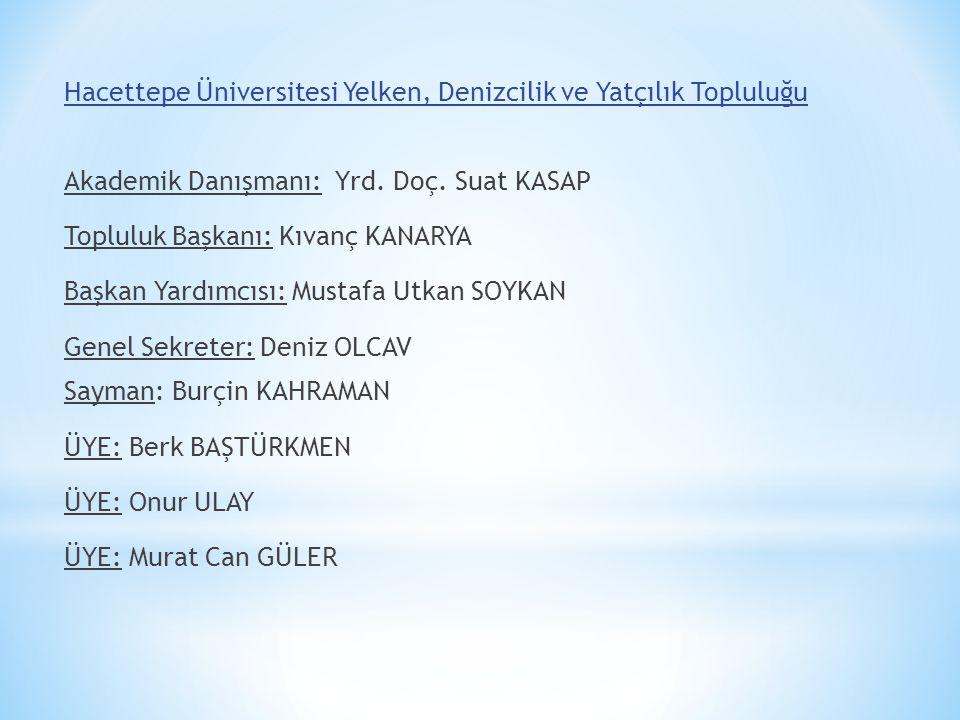 Hacettepe Üniversitesi Yelken, Denizcilik ve Yatçılık Topluluğu Akademik Danışmanı: Yrd. Doç. Suat KASAP Topluluk Başkanı: Kıvanç KANARYA Başkan Yardı