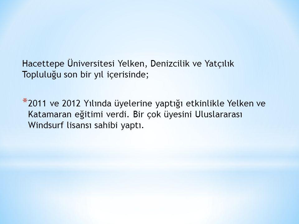 Hacettepe Üniversitesi Yelken, Denizcilik ve Yatçılık Topluluğu son bir yıl içerisinde; * 2011 ve 2012 Yılında üyelerine yaptığı etkinlikle Yelken ve Katamaran eğitimi verdi.