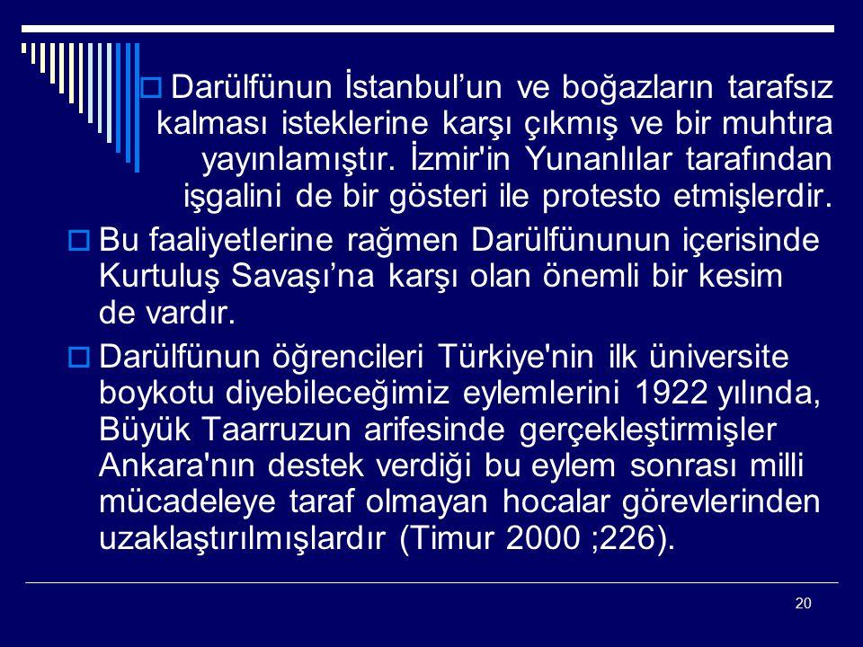 20  Darülfünun İstanbul'un ve boğazların tarafsız kalması isteklerine karşı çıkmış ve bir muhtıra yayınlamıştır. İzmir'in Yunanlılar tarafından işgal