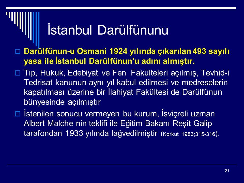 21 İstanbul Darülfünunu  Darülfünun-u Osmani 1924 yılında çıkarılan 493 sayılı yasa ile İstanbul Darülfünun'u adını almıştır.  Tıp, Hukuk, Edebiyat
