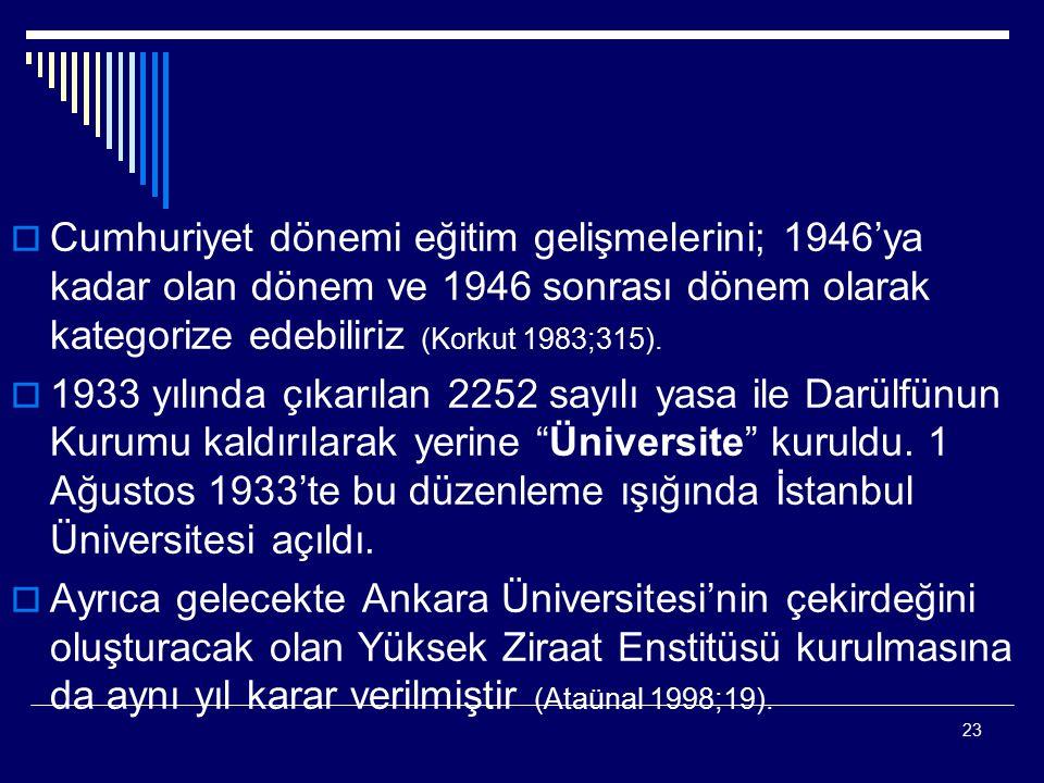 23  Cumhuriyet dönemi eğitim gelişmelerini; 1946'ya kadar olan dönem ve 1946 sonrası dönem olarak kategorize edebiliriz (Korkut 1983;315).