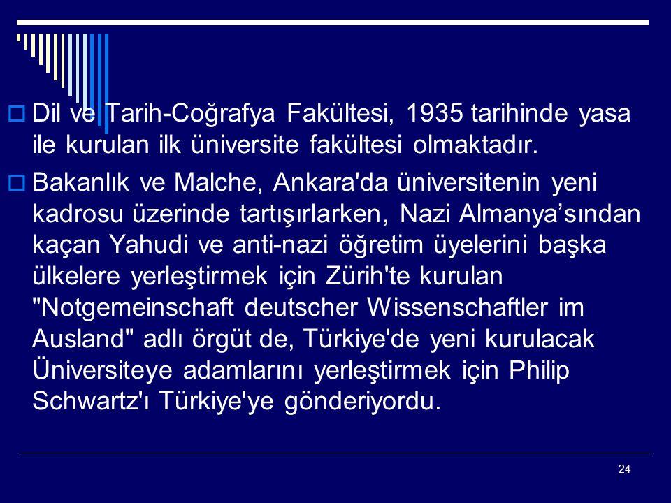 24  Dil ve Tarih-Coğrafya Fakültesi, 1935 tarihinde yasa ile kurulan ilk üniversite fakültesi olmaktadır.  Bakanlık ve Malche, Ankara'da üniversiten