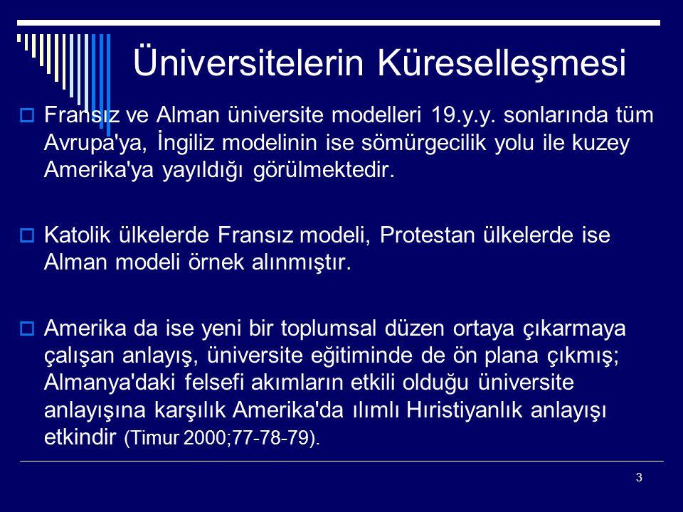 3 Üniversitelerin Küreselleşmesi  Fransız ve Alman üniversite modelleri 19.y.y. sonlarında tüm Avrupa'ya, İngiliz modelinin ise sömürgecilik yolu ile