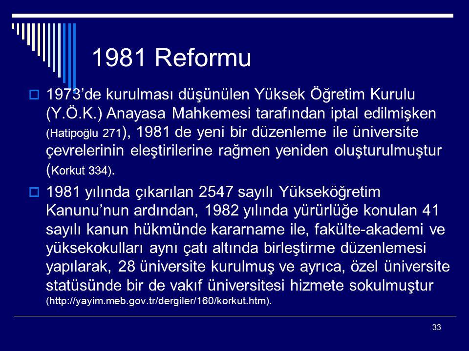 33 1981 Reformu  1973'de kurulması düşünülen Yüksek Öğretim Kurulu (Y.Ö.K.) Anayasa Mahkemesi tarafından iptal edilmişken (Hatipoğlu 271 ), 1981 de yeni bir düzenleme ile üniversite çevrelerinin eleştirilerine rağmen yeniden oluşturulmuştur ( Korkut 334).
