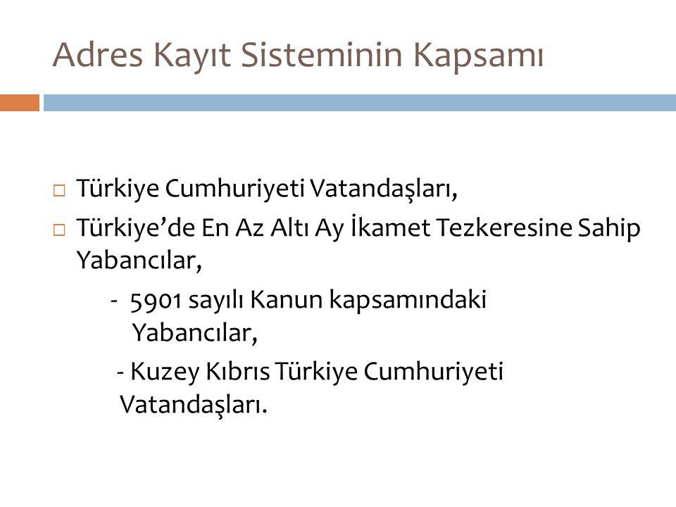 Adres Kayıt Sisteminin Kapsamı  Türkiye Cumhuriyeti Vatandaşları,  Türkiye'de En Az Altı Ay İkamet Tezkeresine Sahip Yabancılar, - 5901 sayılı Kanun kapsamındaki Yabancılar, - Kuzey Kıbrıs Türkiye Cumhuriyeti Vatandaşları.