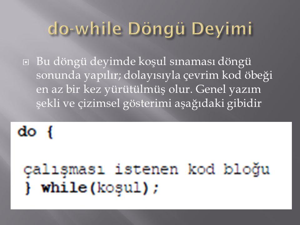  Bu döngü deyimde koşul sınaması döngü sonunda yapılır; dolayısıyla çevrim kod öbeği en az bir kez yürütülmüş olur. Genel yazım şekli ve çizimsel gös