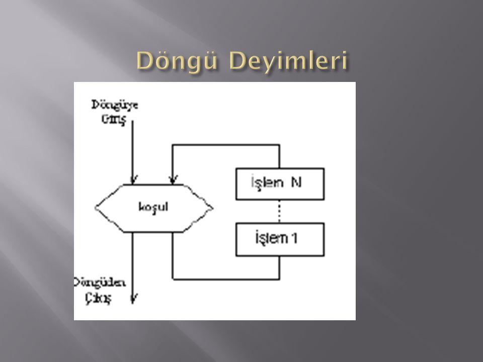  Döngü deyimleri aynı işlemin farklı parametre değerleri üzerinde yapılması için kullanılan yineleme/tekrarlama işleri için kullanılır.