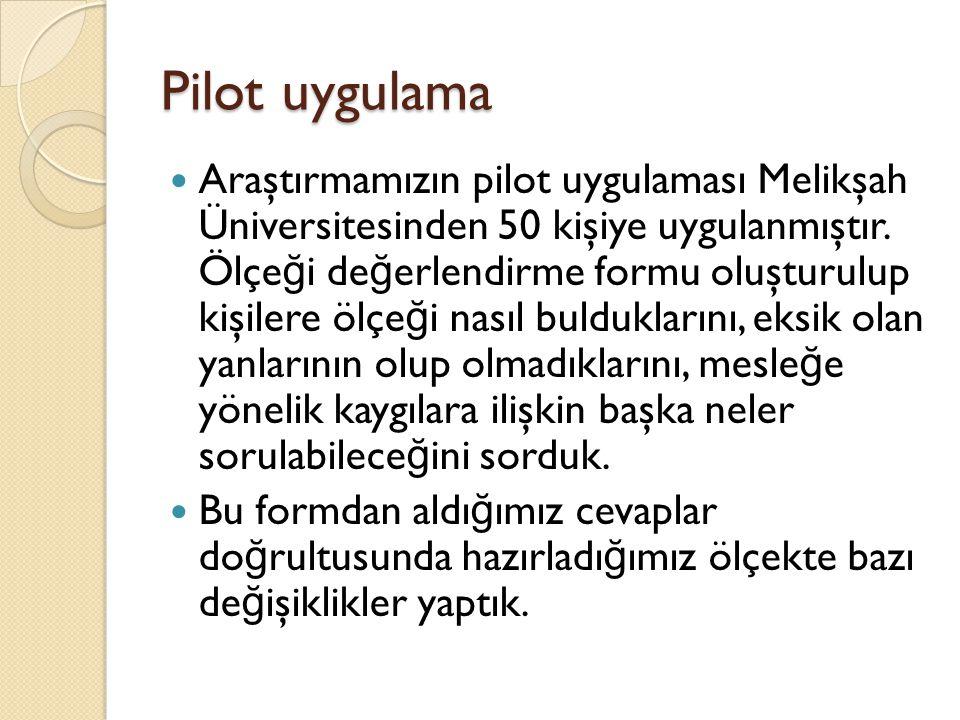 Pilot uygulama Araştırmamızın pilot uygulaması Melikşah Üniversitesinden 50 kişiye uygulanmıştır.