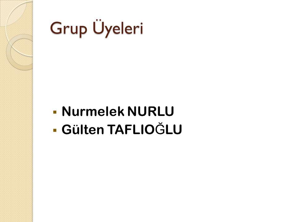 Grup Üyeleri  Nurmelek NURLU  Gülten TAFLIO Ğ LU