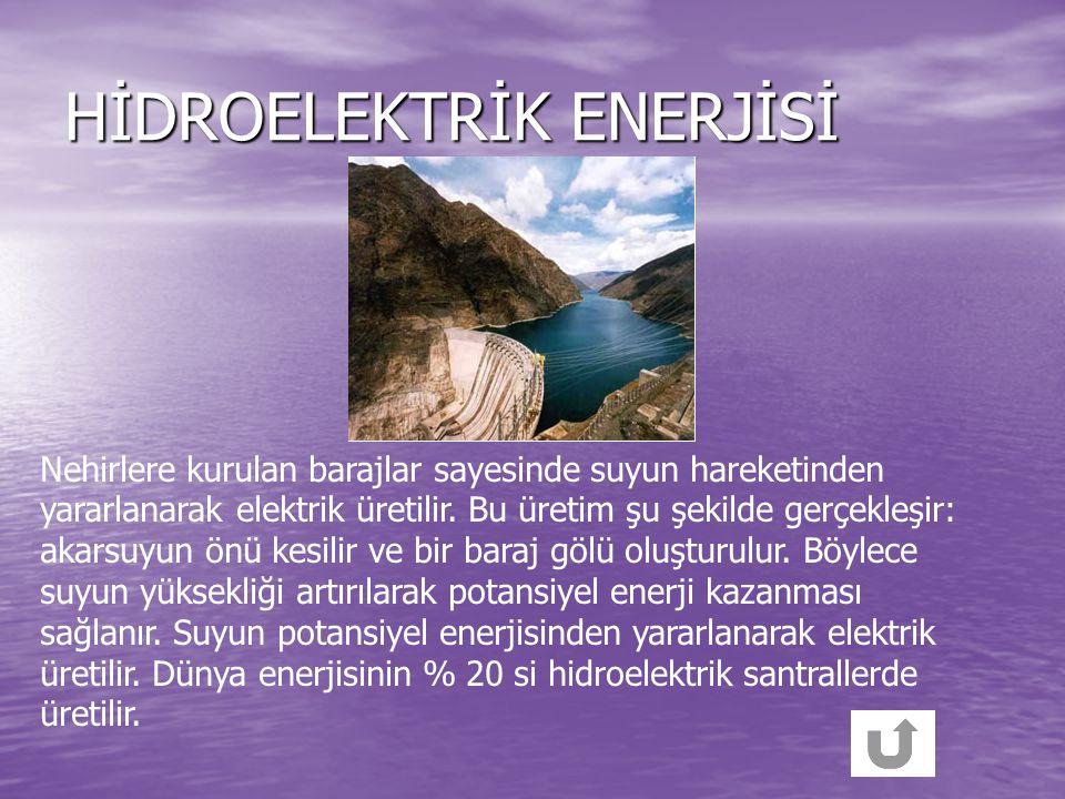 Bazı yenilenebilir enerji kaynakları tabloda verilmiştir. Hidroelektrik enerjisi Hidroelektrik enerjisi Hidroelektrik enerjisi Hidroelektrik enerjisi