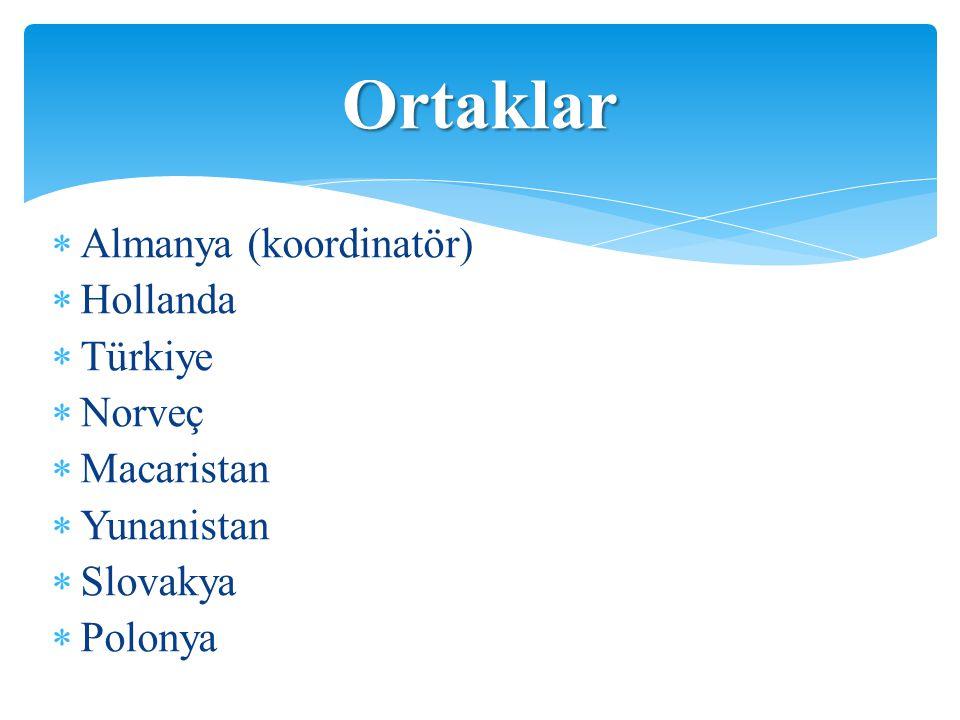  Almanya (koordinatör)  Hollanda  Türkiye  Norveç  Macaristan  Yunanistan  Slovakya  Polonya Ortaklar