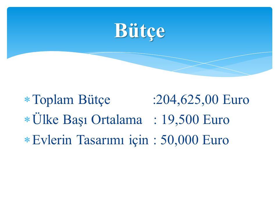  Toplam Bütçe :204,625,00 Euro  Ülke Başı Ortalama : 19,500 Euro  Evlerin Tasarımı için : 50,000 Euro Bütçe