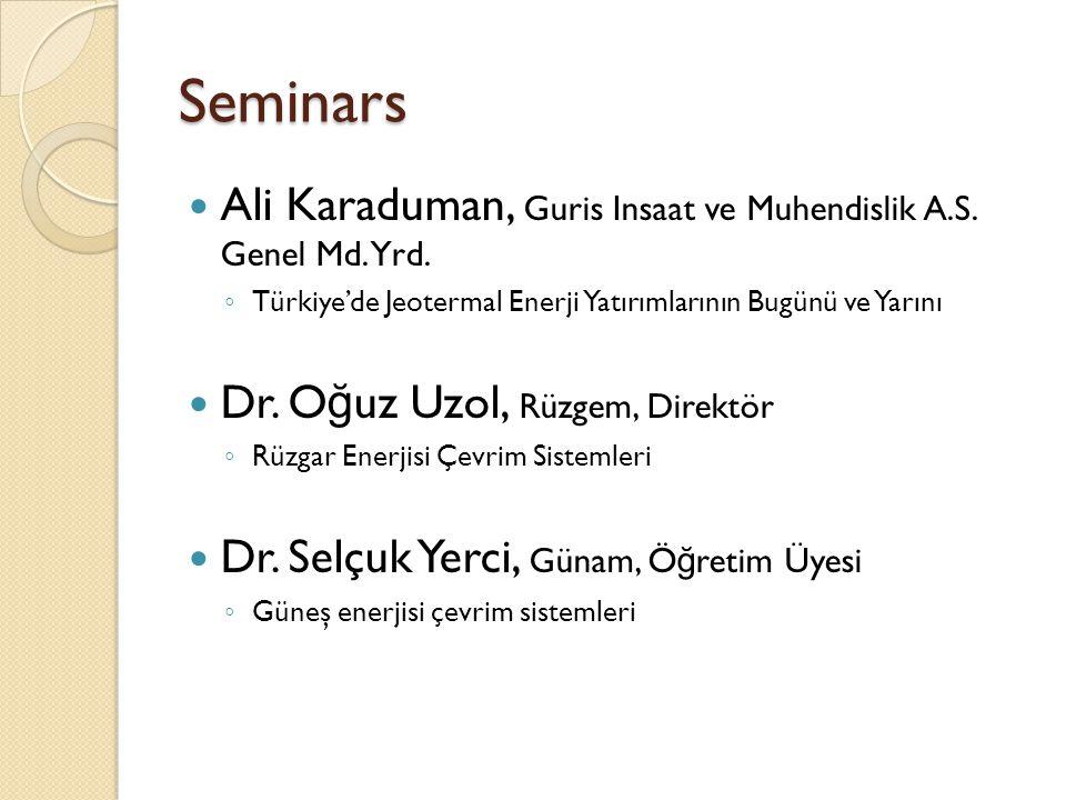 Seminars Ali Karaduman, Guris Insaat ve Muhendislik A.S. Genel Md. Yrd. ◦ Türkiye'de Jeotermal Enerji Yatırımlarının Bugünü ve Yarını Dr. O ğ uz Uzol,