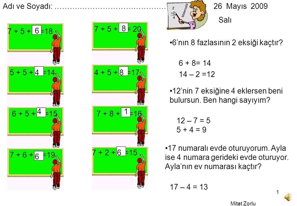 Mitat Zorlu 1 Matematik Adı ve Soyadı: ……….…………………………….
