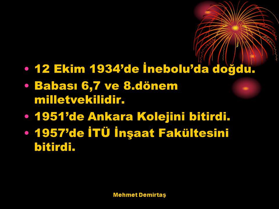 Mehmet Demirtaş 12 Ekim 1934'de İnebolu'da doğdu. Babası 6,7 ve 8.dönem milletvekilidir. 1951'de Ankara Kolejini bitirdi. 1957'de İTÜ İnşaat Fakültesi